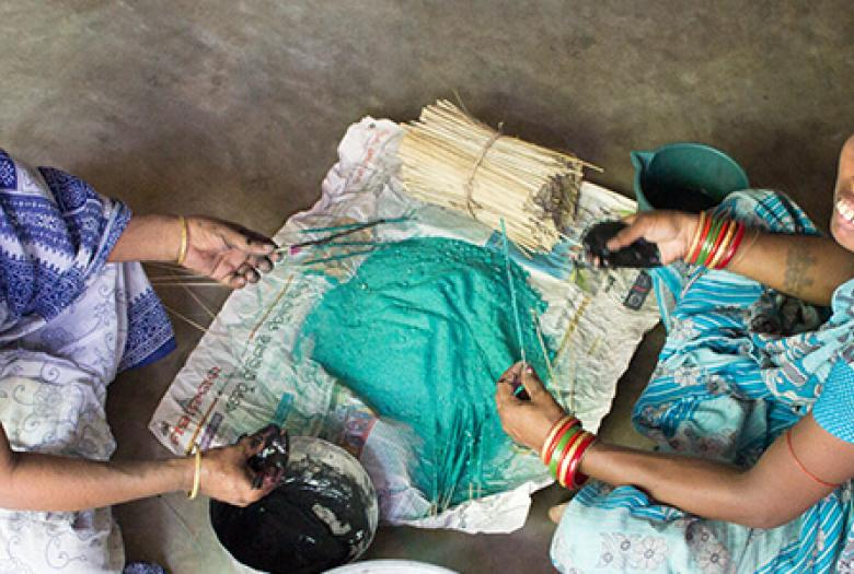 Our Clients making incense sticks; source of livelihood