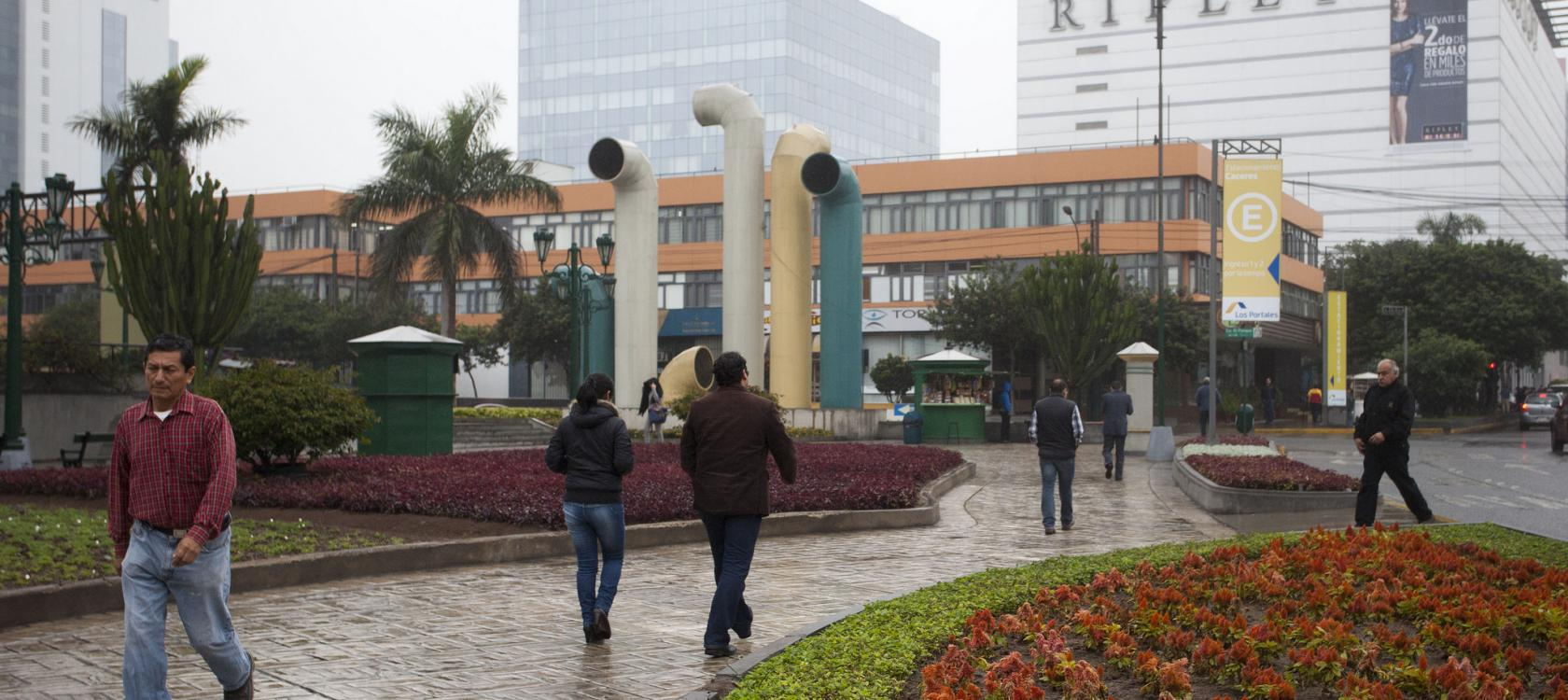 Daily life in San Isidro, a financial district in Lima, Peru