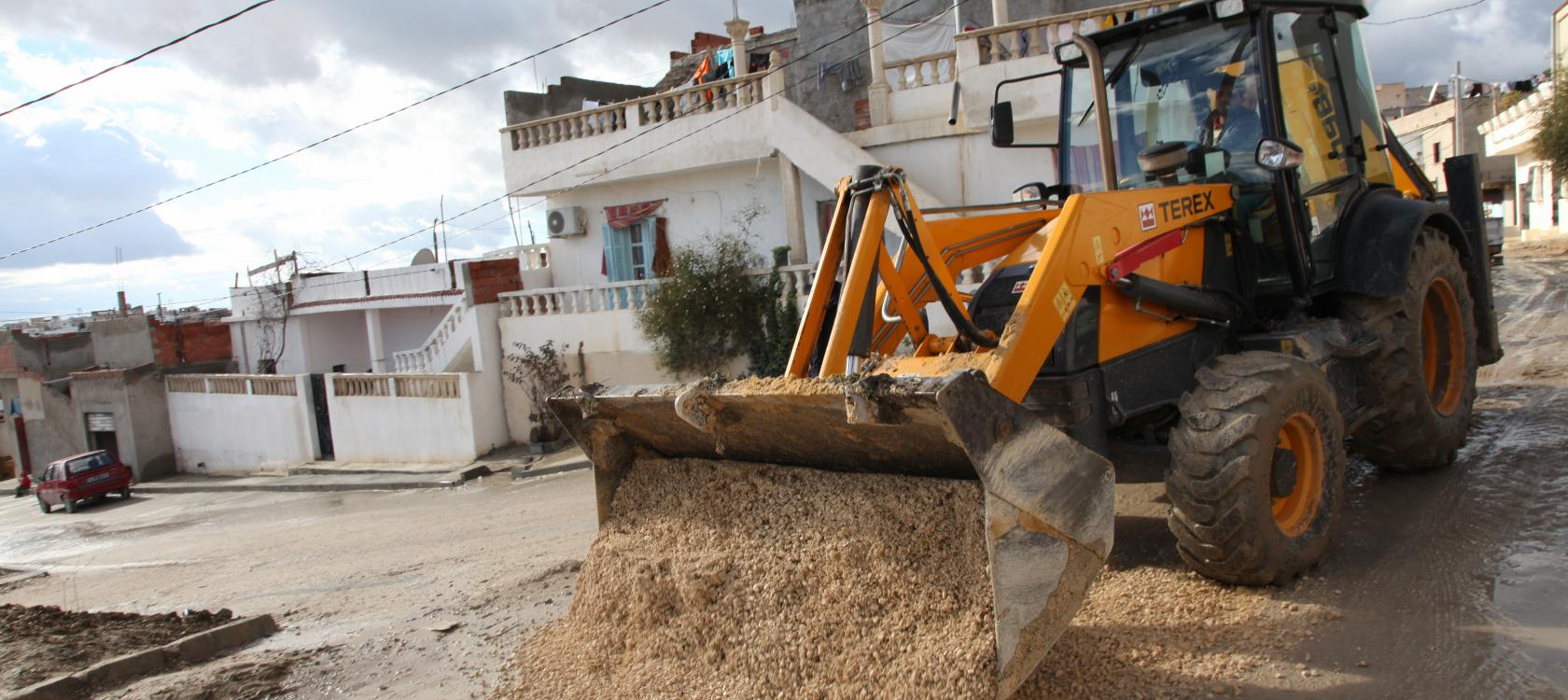 Tunisie, travaux, engin